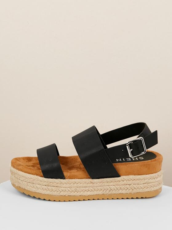 4ed5fe778a20 Jute Wrapped Flatform Double Band Buckled Sandals