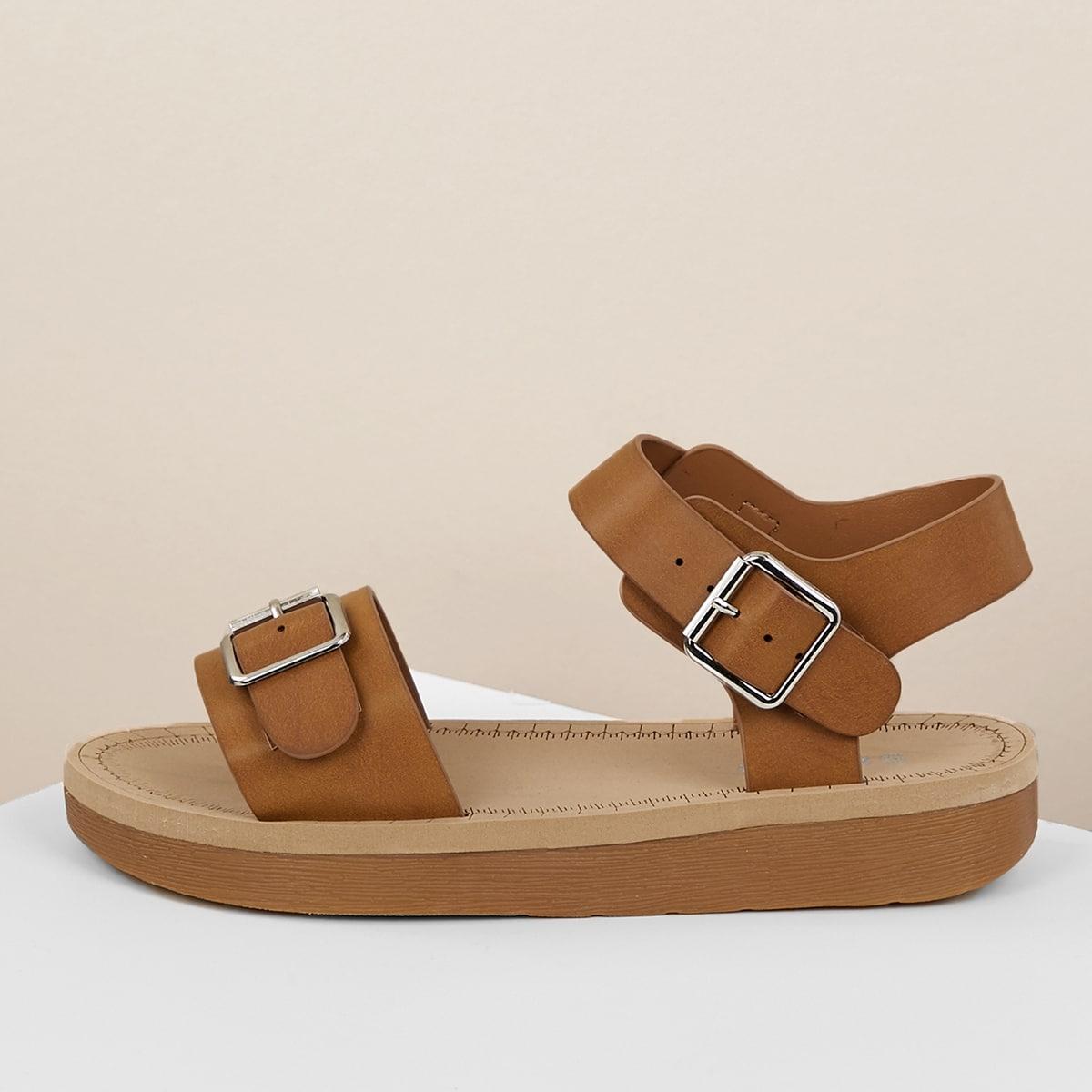 Плоские сандалии с пряжками на одной ленте от SHEIN
