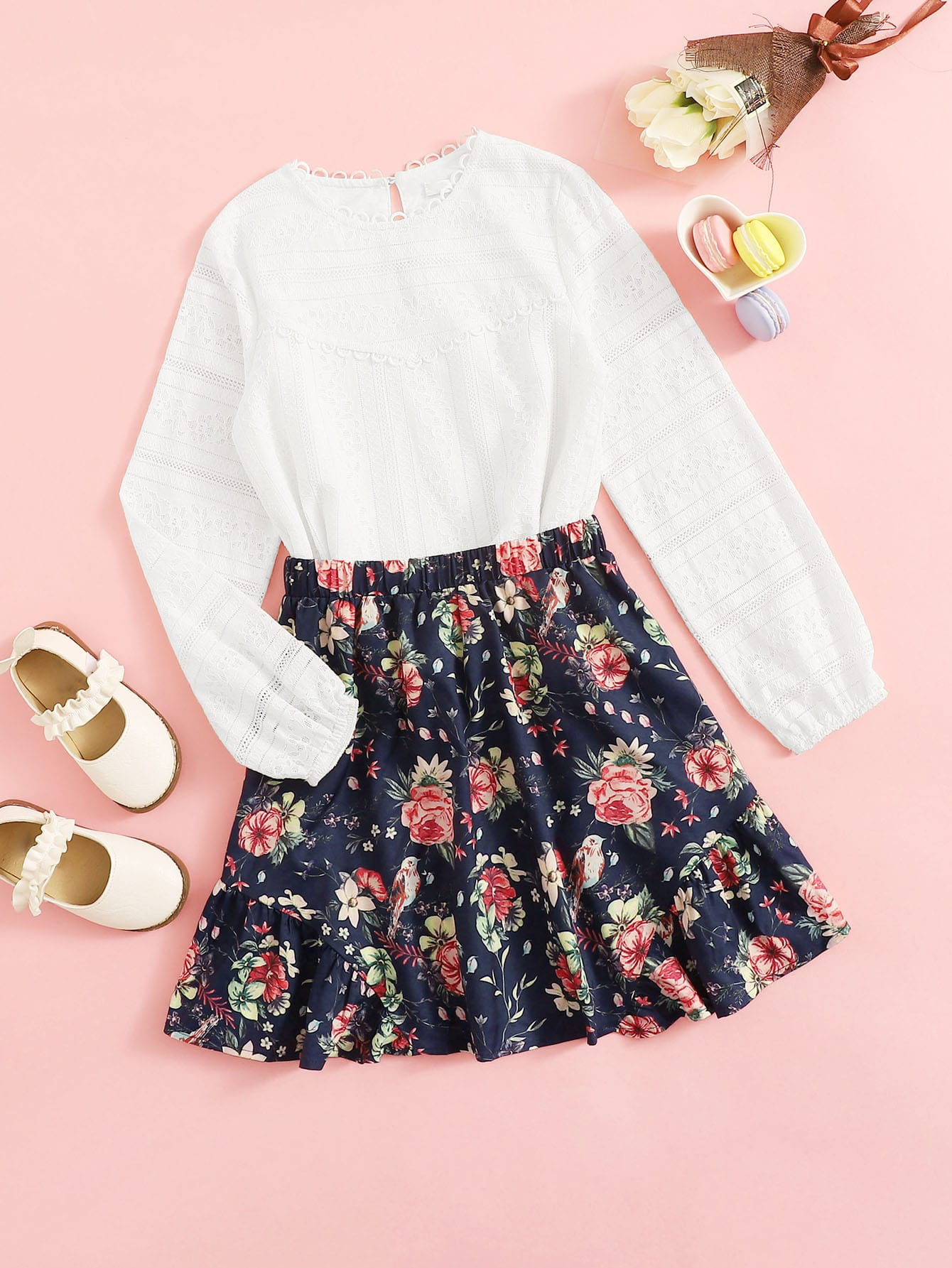Кружевной топ и цветочная юбка с многослойными оборками, null, SheIn  - купить со скидкой