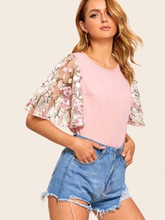 Floral Embroidery Mesh Sleeve Top