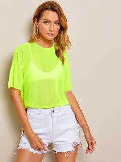 Neon Lime Drop Shoulder Sheer Top