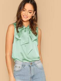 Tie Neck Sleeveless Satin Top