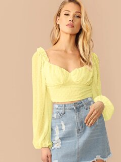 Neon Yellow Sweetheart Neck Swiss Dot Crop Top