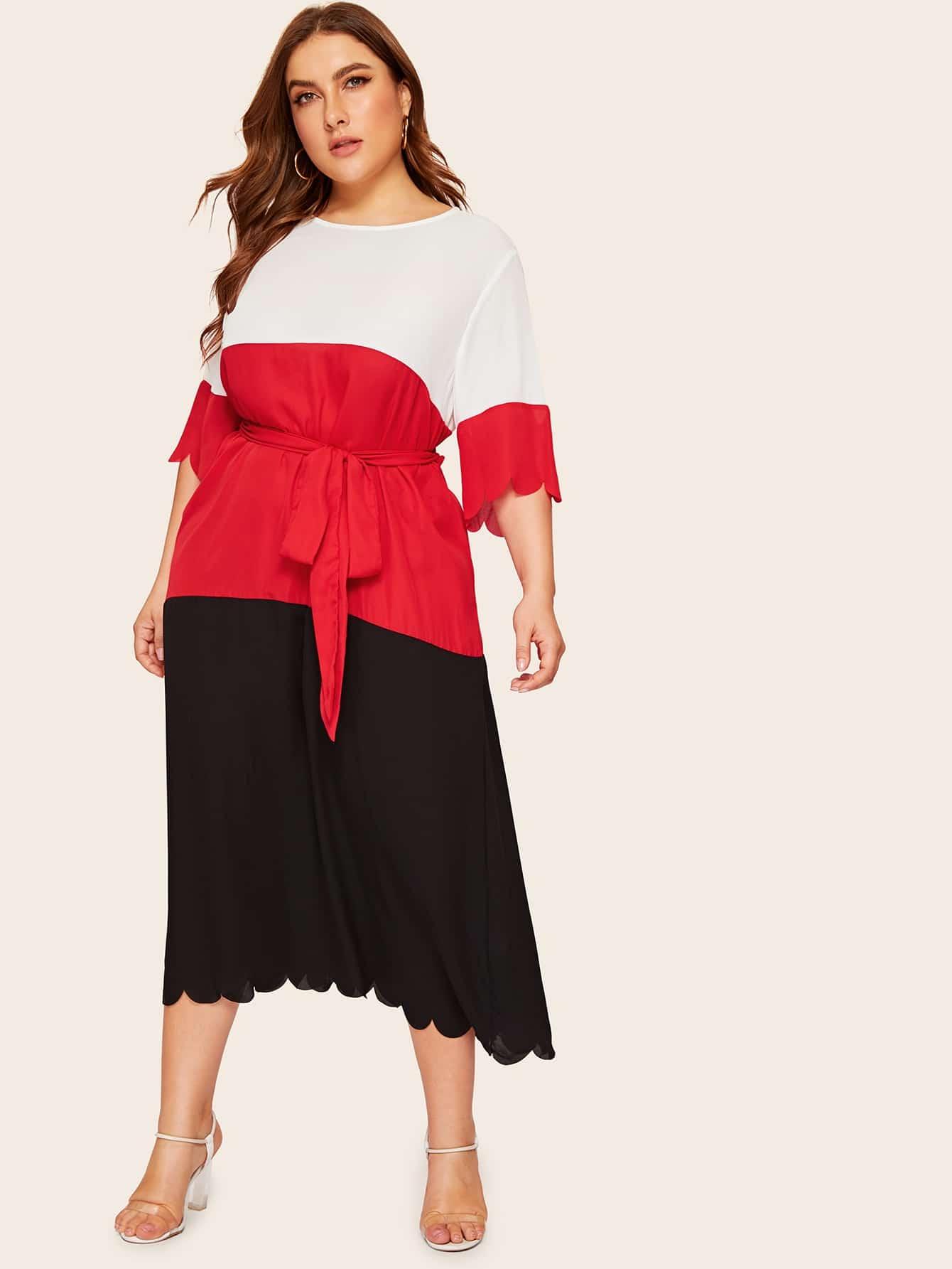 Размера плюс контрастное платье с поясом и веерообразной отделкой
