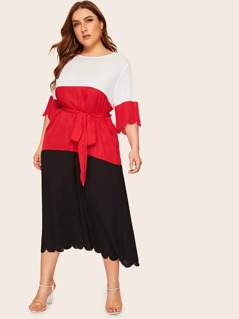 Plus Scallop Trim Colorblock Belted Dress