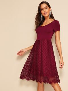 Knot Back Guipure Lace Overlay Dress