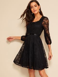 40s Lace Overlay Belted Dress