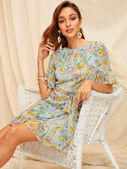 Botanical Print Ruffle Sleeve Belted Dress