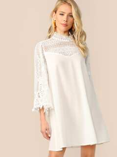 Mock-Neck Guipure Lace Shoulder and Sleeve Dress