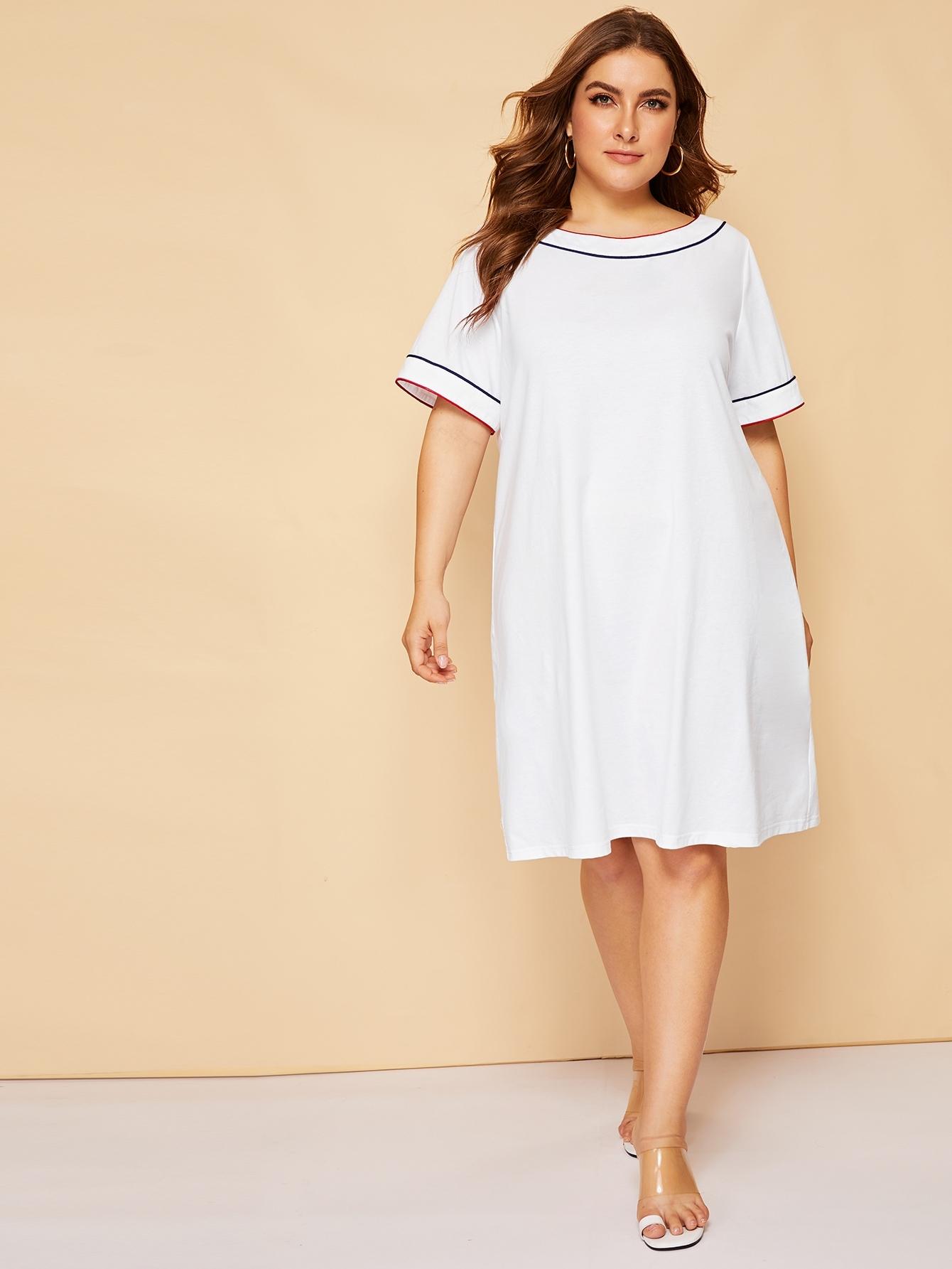 Размер плюс платье с контрастной отделкой