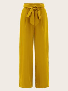 Notch Wide Waist Self Belted Palazzo Pants