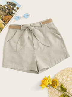 Slant Pocket Shorts With Straw Belt
