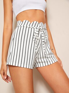 Scallop Trim Belted Striped Shorts