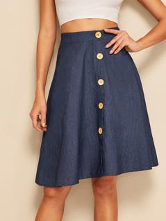 Button Up Circle Denim Skirt