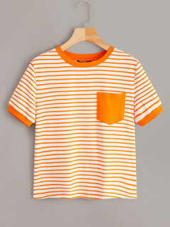 Neon Orange Striped Pocket Patch Ringer Tee