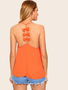 Neon Orange Bow Back Cami Top