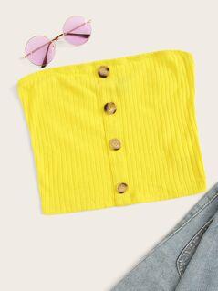 Single Breasted Rib-knit Bandeau Top