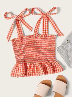 Self Tie Shoulder Gingham Shirred Top