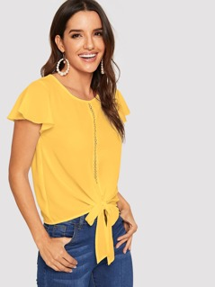 Flutter Sleeve Lace Insert Knot Front Top