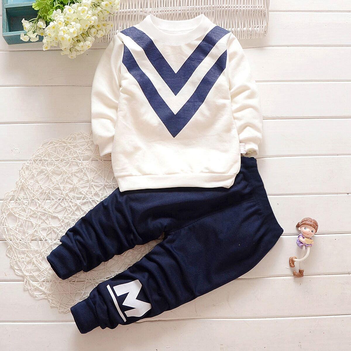 Свитшот с принтом букв и брюки для мальчика от SHEIN