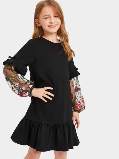 Girls Embroidered Mesh Lantern Sleeve Ruffle Dress