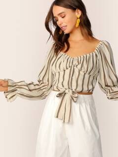 Sweetheart Neck Knot Hem Striped Shirt