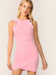 Ruffle Trim Ruched Dress With Wrap Skirt