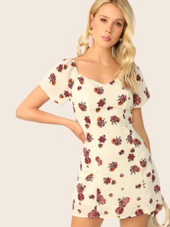 Sweetheart Neck Raglan Sleeve Floral Dress