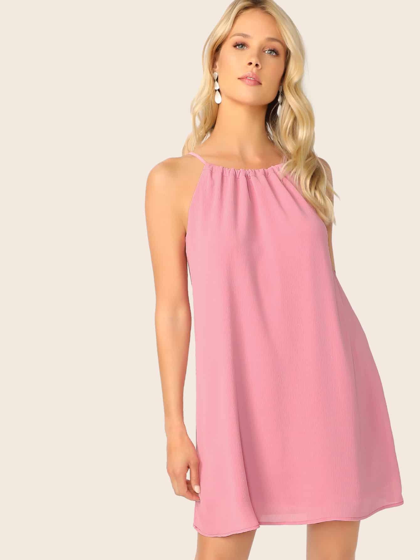 Фото - Платье-халтер на кулиске с кисточками от SheIn цвет розовые