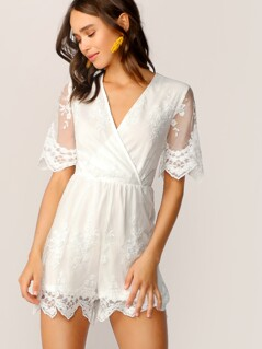 Surplice Neck Embroidered Mesh Overlay Romper