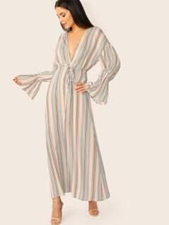 Flounce Sleeve Self Belted Striped Maxi Kimono