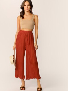 Elastic Waist Wide Leg Pleated Pants
