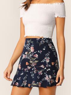 Wide Band Waist Ruffle Hem Floral Skirt