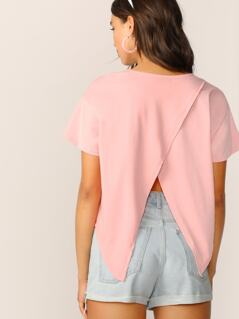 Wrap Split Back Asymmetrical Top