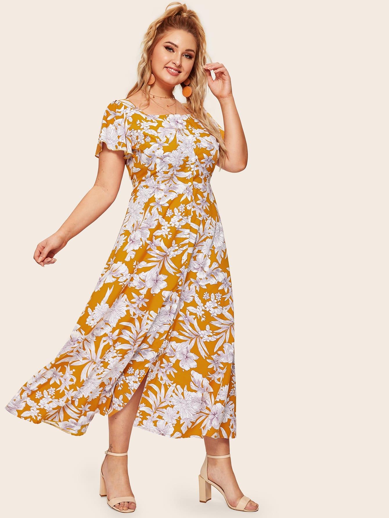 Размер плюс платье с цветочным принтом и пуговицами