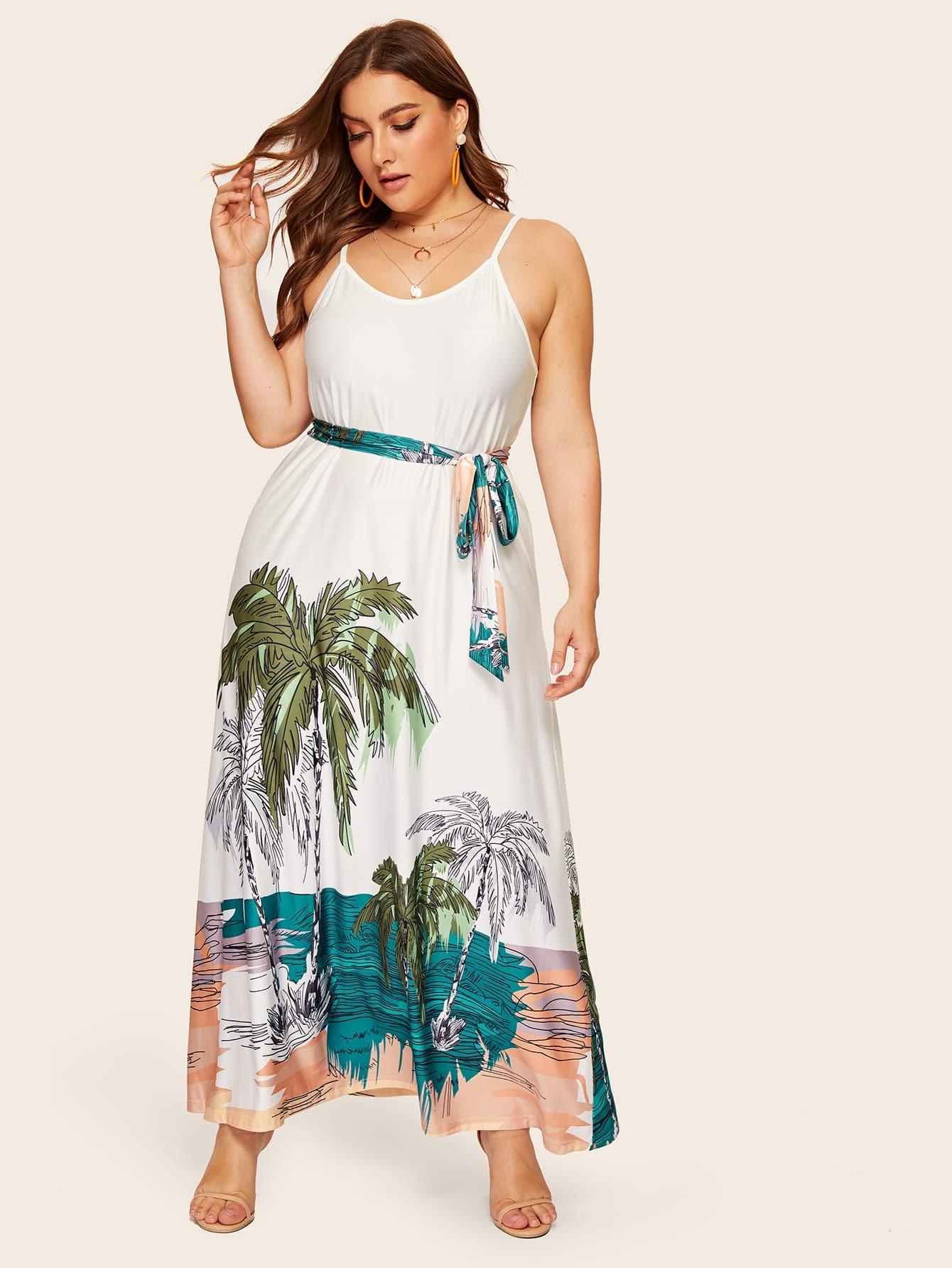 Размер плюс платье на бретелях с тропическим принтом