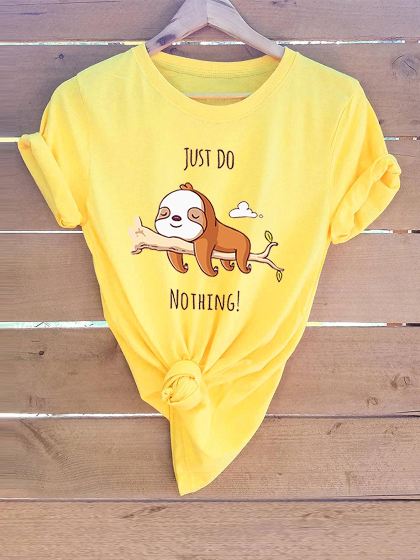 Неоновая желтая футболка с анималистичным текстовым принтом SheIn