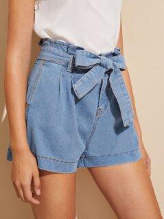 Paperbag Waist Self Belt Wide Leg Denim Shorts