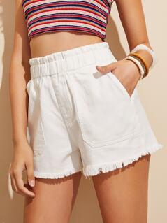 Paperbag Waist Slant Pocket Denim Shorts