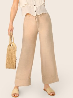 Side Pockets Drawstring Waist Wide Leg Pants