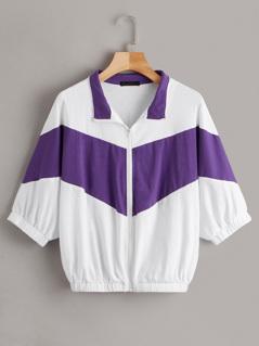 Dolman Sleeve Two Tone Chevron Zip Up Sweatshirt
