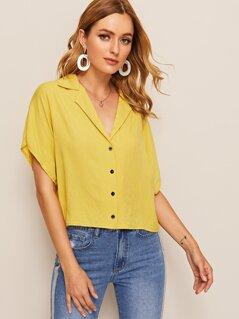 Notched Collar Batwing Sleeve Shirt