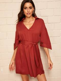 Drop Shoulder Buttoned Cuff Belted Shirt Dress