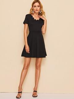 Scallop Trim Fit & Flare Dress