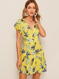Button Up Shirred Back Tropical Print Dress