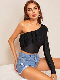 One Shoulder Layered Lace Trim Crop Top
