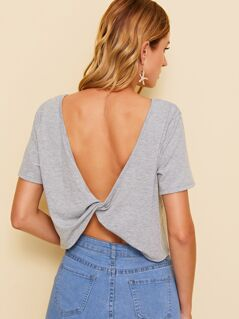 Twist V Back Heather Grey Crop Tee