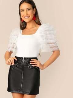 Frilled Mesh Sleeve Bodysuit