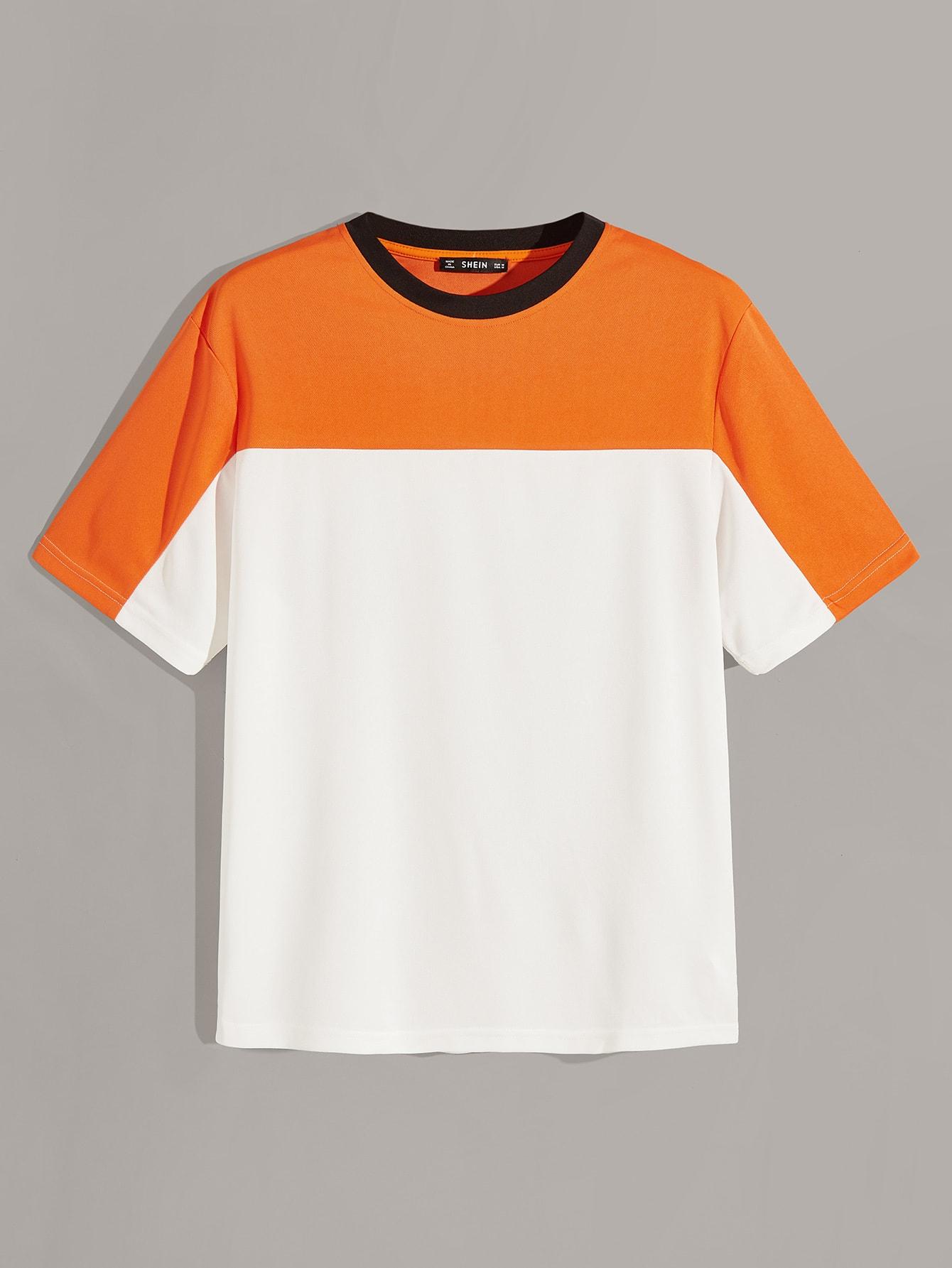 Фото - Кроить и шить мужская футболка с контрастным воротником от SheIn цвет многихцветный