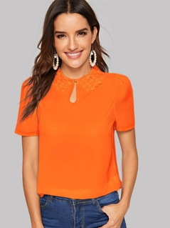 Neon Orange Lace Trim Keyhole Neck Top
